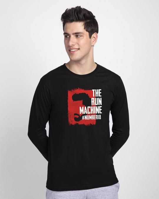 Shop Cricket Machine Full Sleeve T-Shirt Black-Front