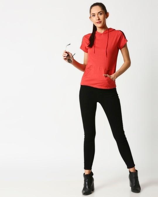 Shop Crimson Half Sleeve Hoodie T-shirt