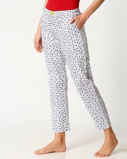 Shop Crimson Leaves White Women's Pyjama-Design