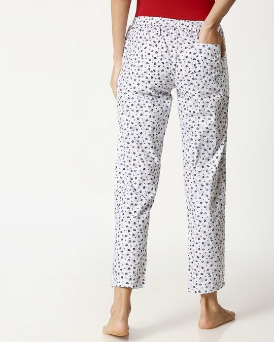 Shop Crimson Leaves White Women's Pyjama-Full