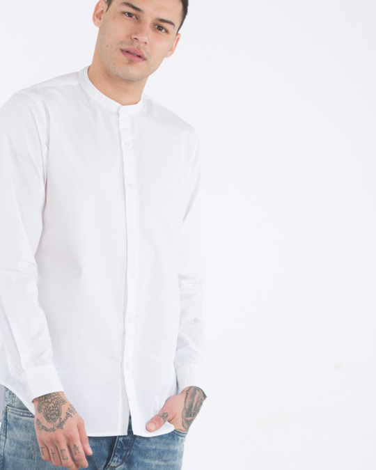 Buy crisp white mandarin collar shirt men 39 s casual shirts for Crisp white cotton shirt
