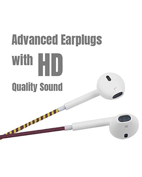 Shop Designer Series 3.5mm Universal In Ear Headphones With Mic And Volume Control (Mustard, Magenta & Brown)-Back