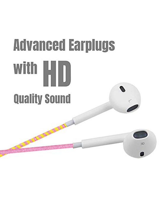 Shop Designer Series 3.5mm Universal In Ear Headphones With Mic And Volume Control (Pink, Yellow & Sky Blue)-Back