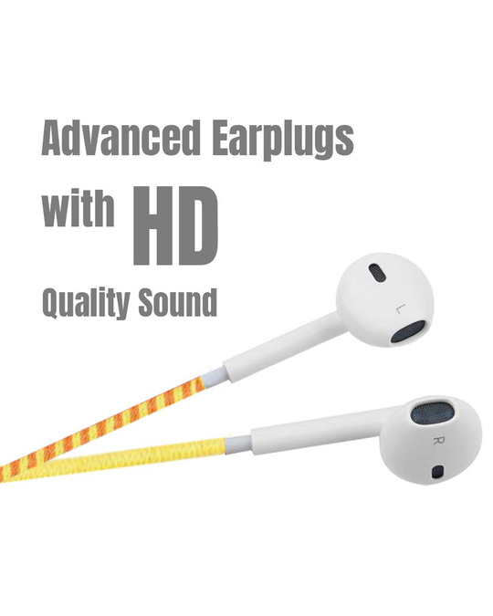 Shop Designer Series 3.5mm Universal In Ear Headphones With Mic And Volume Control (Yellow , Blue , Orange)-Back