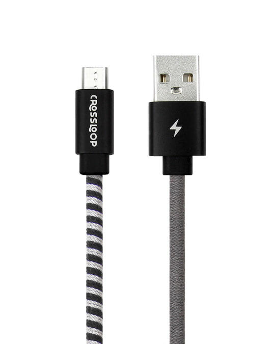 Shop CrossLoop Micro USB Fast Charging Cable - Black & Grey-Back
