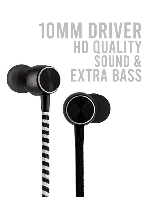 Shop CrossLoop Pro Series Earphone with Mic & Volume Control in Black, Grey & White