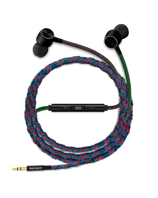Shop Pro Series Earphone With Mic & Volume Control In Blue & Pink-Design