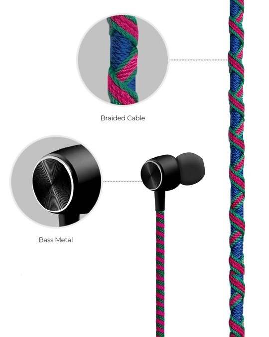 Shop Pro Series Earphone With Mic & Volume Control In Blue & Pink