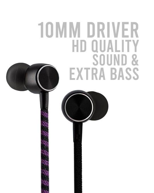 Shop CrossLoop Pro Series Earphone with Mic & Volume Control in Blue, Black and Purple