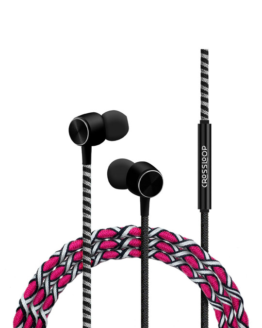 Shop Pro Series Earphone With Mic & Volume Control In Pink & Black-Front