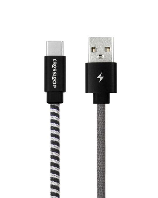 Shop CrossLoop Type C Fast Charging Cable - Black & Grey-Back