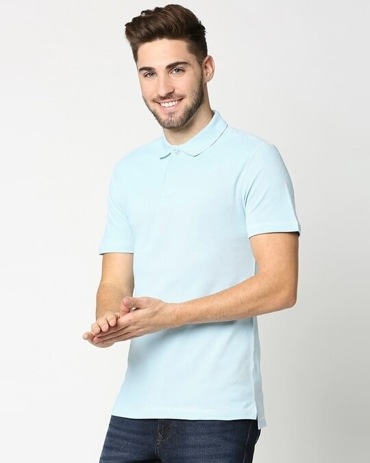Shop Crystal Blue Half Sleeve Contrast Polo-Design