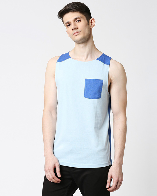 Shop Crystal Blue Melange Round Neck Melange Pocket Vest-Front