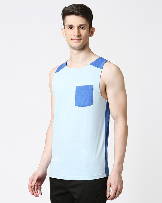 Shop Crystal Blue Melange Round Neck Melange Pocket Vest-Design