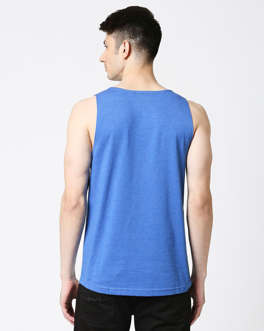 Shop Crystal Blue Melange Round Neck Melange Pocket Vest-Full