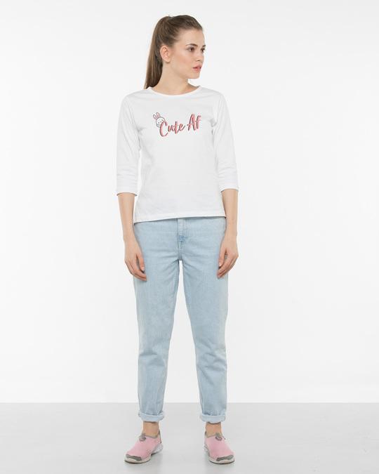 Shop Cute Af Round Neck 3/4th Sleeve T-Shirt