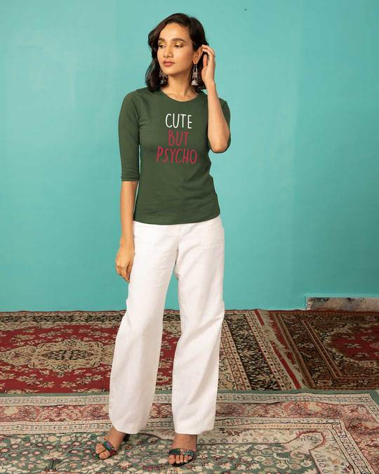 Shop Cute But Psycho Round Neck 3/4th Sleeve T-Shirt-Full