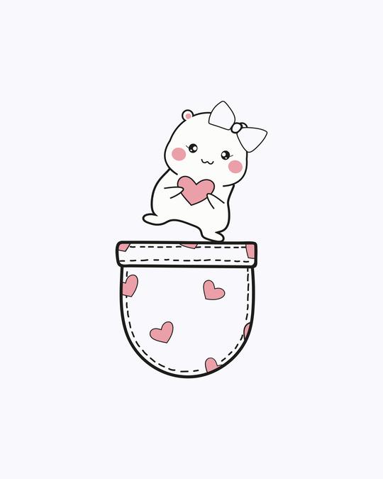 Shop Cute Heart Pocket Half Sleeve T-Shirt White