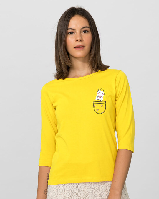 Shop Cute Heart Pocket Round Neck 3/4th Sleeve T-Shirt Pineapple Yellow-Back