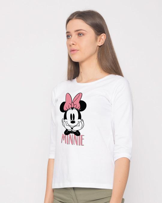 Shop Cute Minnie Round Neck 3/4th Sleeve T-Shirt (DL)-Back
