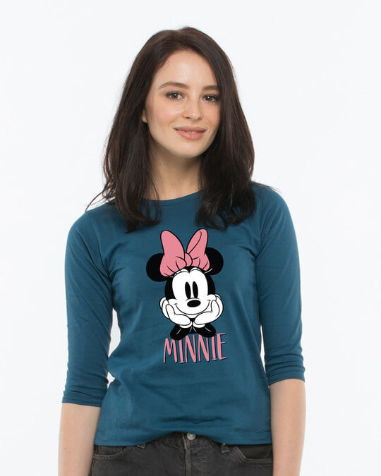 Shop Cute Minnie Round Neck 3/4th Sleeve T-Shirt (DL)-Front