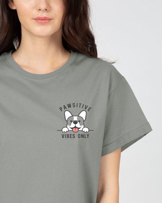 Shop Cute Pawsitive Boyfriend T-Shirt-Front