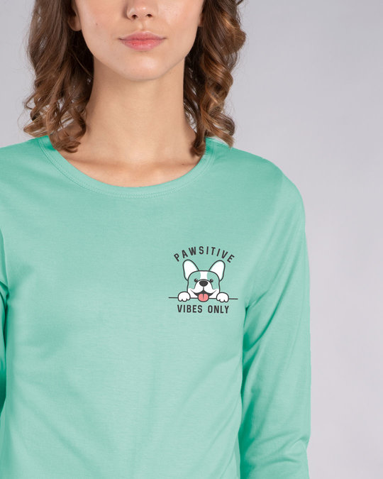Shop Cute Pawsitive Round Neck 3/4th Sleeve T-Shirt-Front