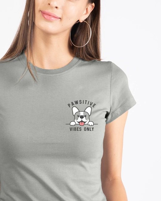 Shop Cute Pawsitive Half Sleeve T-shirt-Front