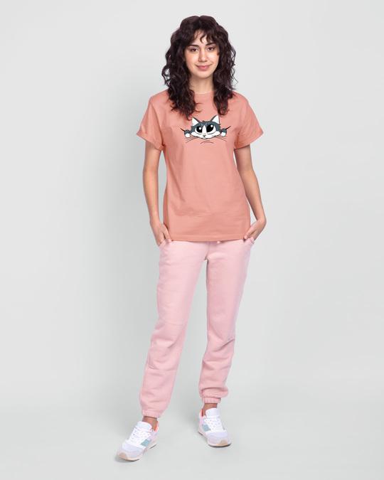 Shop Cute Peeking Cat Boyfriend T-Shirt-Full