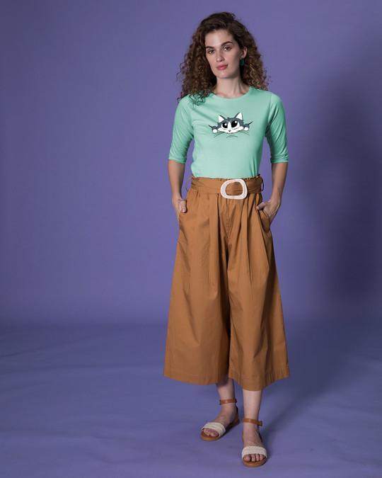Shop Cute Peeking Cat Round Neck 3/4th Sleeve T-Shirt-Full