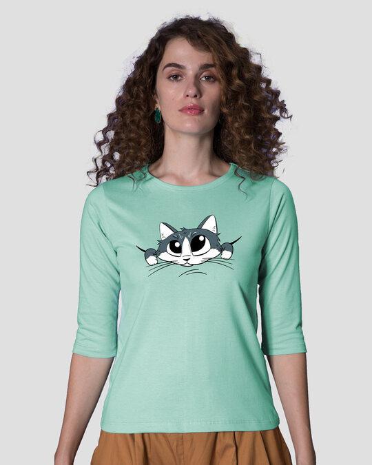 Shop Cute Peeking Cat Round Neck 3/4th Sleeve T-Shirt-Front