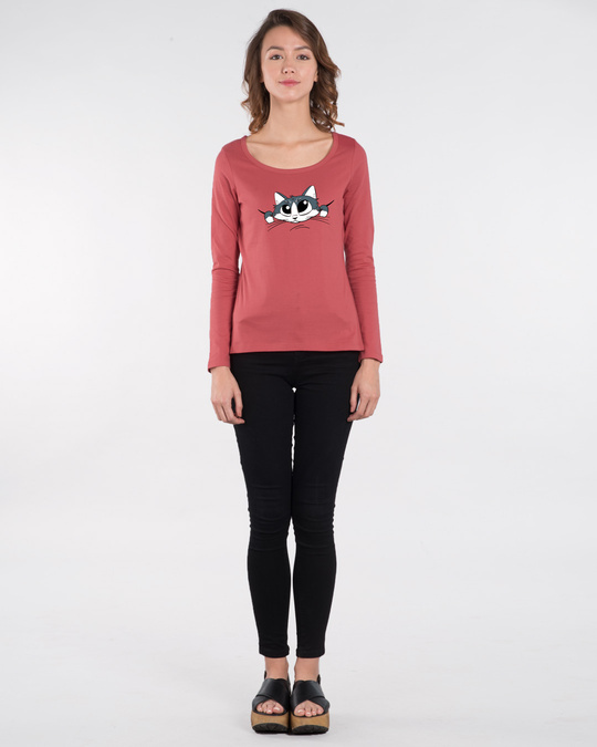 Shop Cute Peeking Cat Scoop Neck Full Sleeve T-Shirt-Design