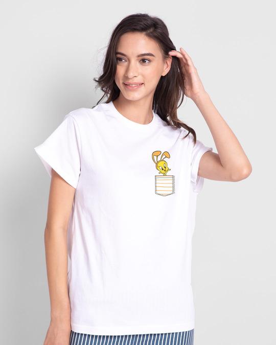 Shop Cute Tweety Pocket Boyfriend T-Shirts (LTL) White-Back