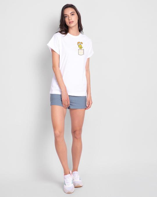 Shop Cute Tweety Pocket Boyfriend T-Shirts (LTL) White-Full