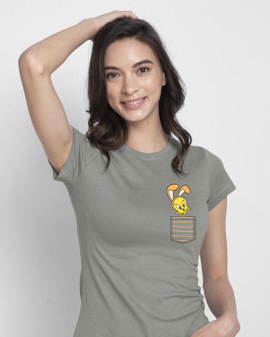 Shop Cute Tweety Pocket Half Sleeve Printed T-Shirt (LTL) Meteor Grey-Back