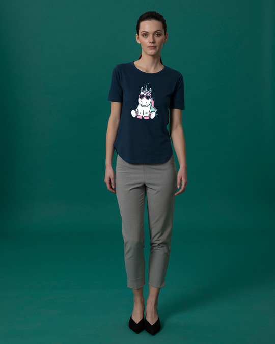 Shop Cute Unicorn Basic Round Hem T-Shirt