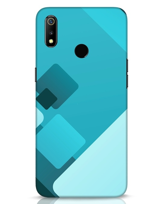 Shop Cyan Blocks Realme 3 Mobile Cover-Front