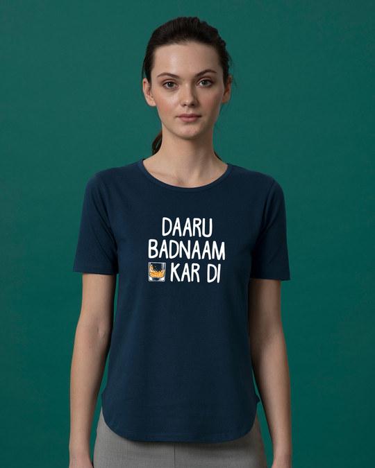 Shop Daaru Badnaam Basic Round Hem T-Shirt-Front