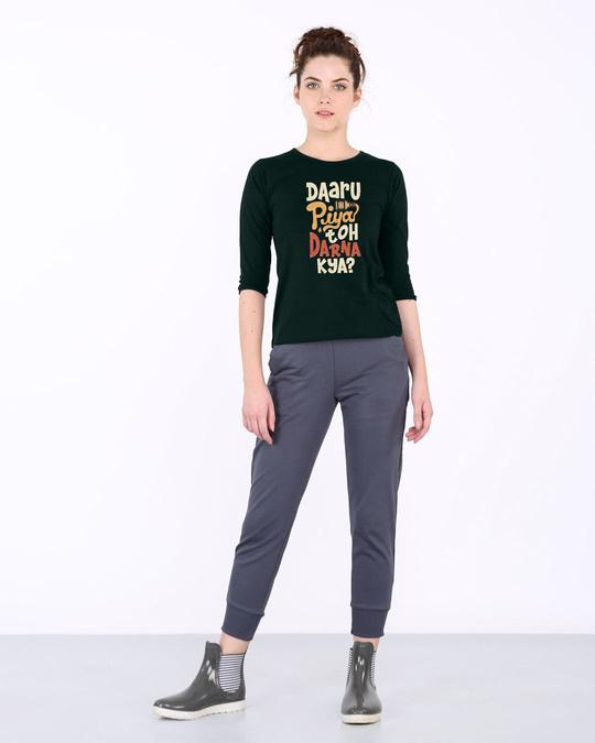 Shop Daaru Piya Toh Darrna Kya Round Neck 3/4th Sleeve T-Shirt-Full