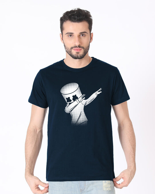 Shop Dab Marshmello Half Sleeve T-Shirt-Back