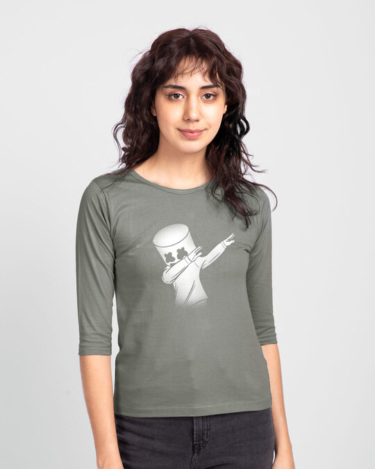 Shop Dab Marshmello  Round Neck 3/4 Sleeve T-Shirts-Front