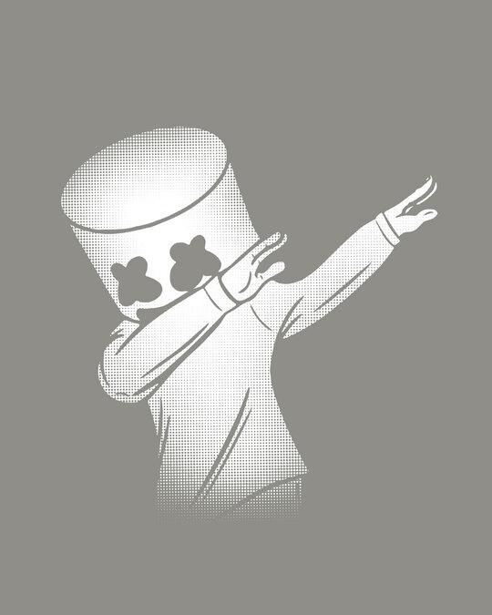 Shop Dab Marshmello  Round Neck 3/4 Sleeve T-Shirts-Full