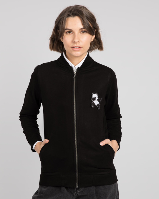 Shop Dab Panda Badge Zipper Bomber Jacket-Back