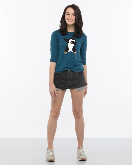 Shop Dab Penguin Round Neck 3/4th Sleeve T-Shirt-Full