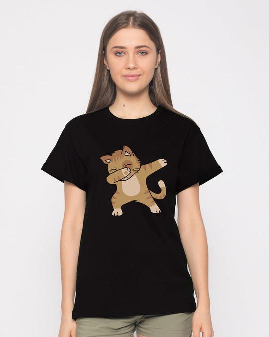 Shop Dabbing Cat Boyfriend T-Shirt-Front