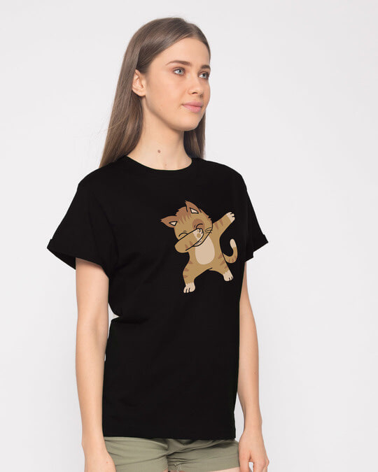 Shop Dabbing Cat Boyfriend T-Shirt-Back