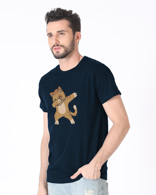 Shop Dabbing Cat Half Sleeve T-Shirt-Design