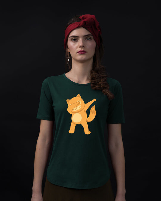 Shop Dabbing Catty Basic Round Hem T-Shirt-Front