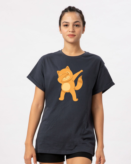 Shop Dabbing Catty Boyfriend T-Shirt-Front
