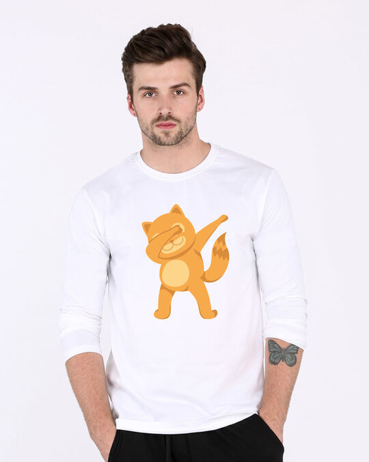 Shop Dabbing Catty Full Sleeve T-Shirt-Front